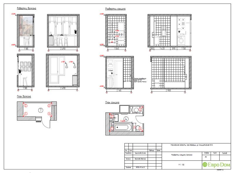 Дизайн двухкомнатной квартиры 63 кв. м в стиле белый лофт. Фото 031