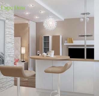Дизайн однокомнатной квартиры 54 кв. м в современном стиле. Фото проекта