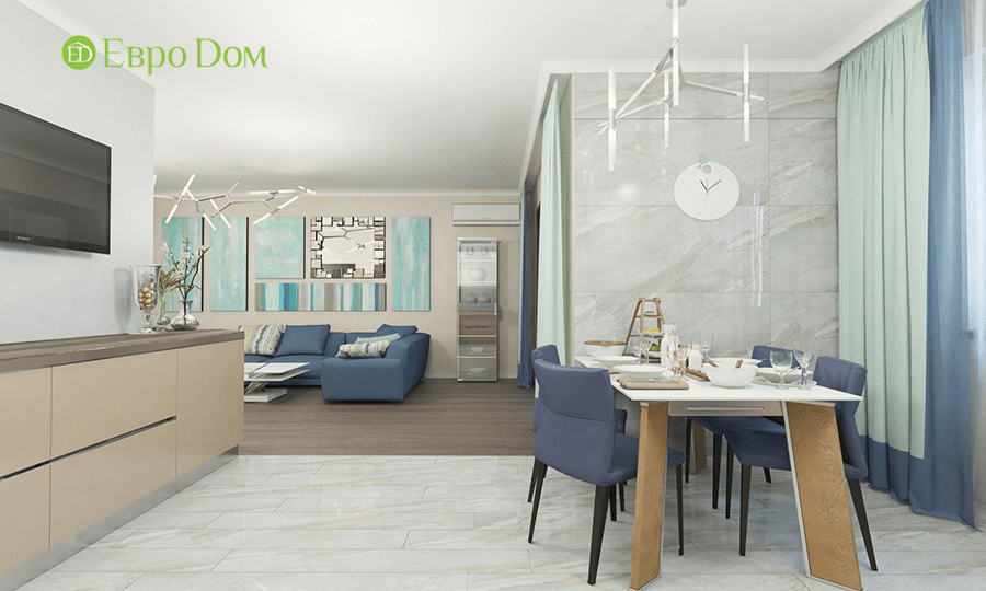 Дизайн трёхкомнатной квартиры 109 кв. м в современном стиле. Фото 016