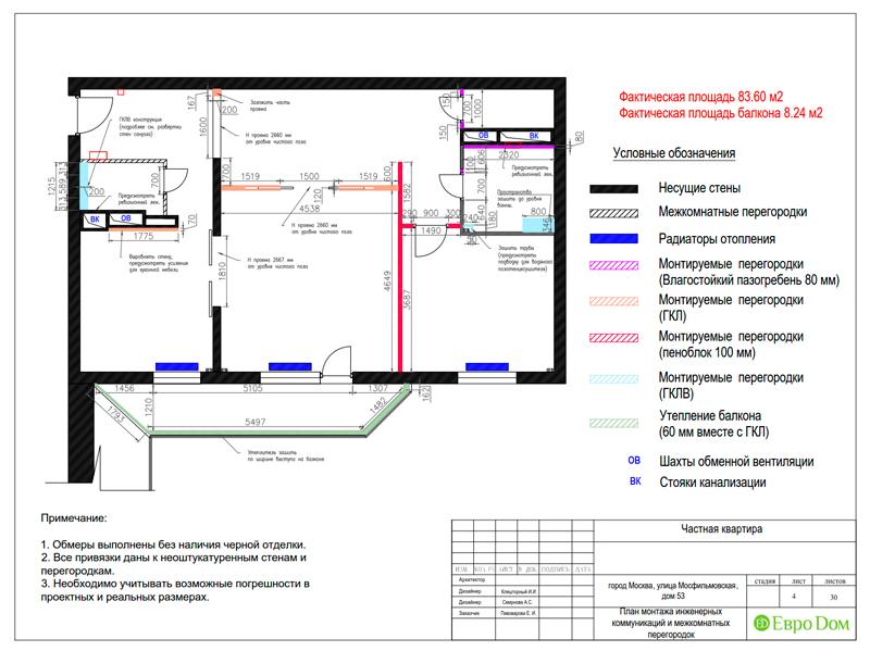 Дизайн трехкомнатной квартиры 90 кв. м в английском стиле. Фото 027
