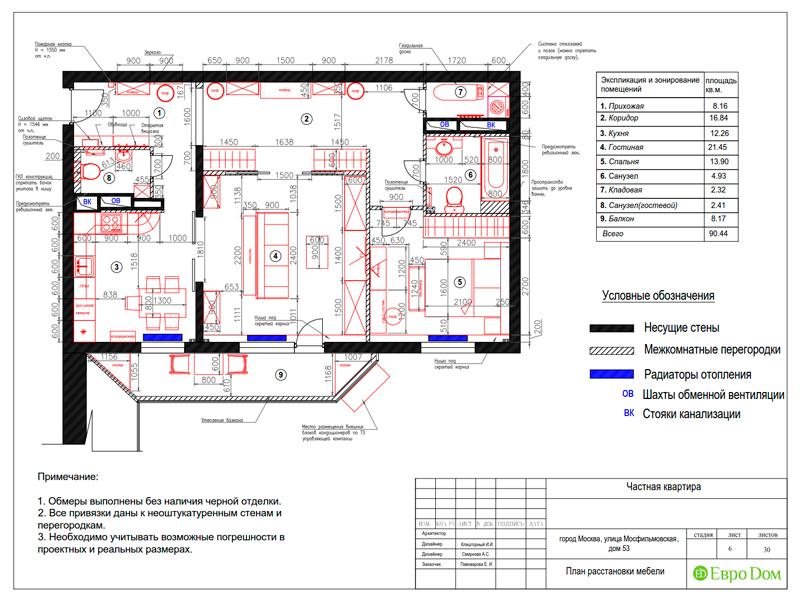 Дизайн трехкомнатной квартиры 90 кв. м в английском стиле. Фото 028