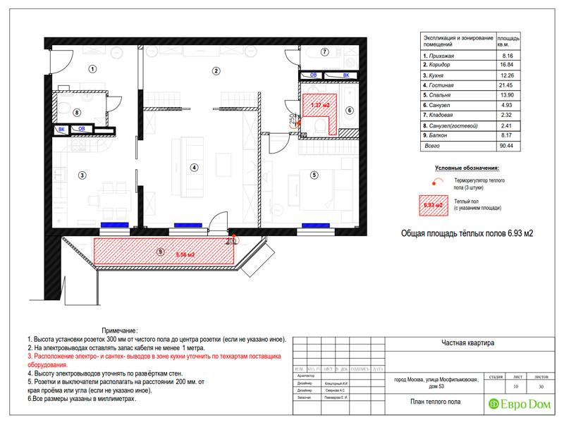 Дизайн трехкомнатной квартиры 90 кв. м в английском стиле. Фото 032