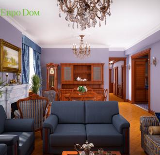 Дизайн трехкомнатной квартиры 89 кв. м в английском стиле. Фото проекта