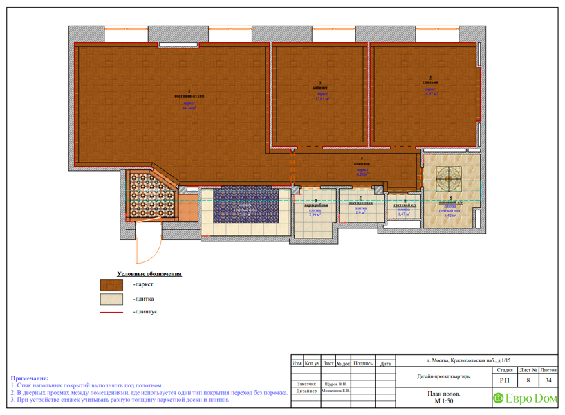Дизайн трехкомнатной квартиры 89 кв. м в английском стиле. Фото 029