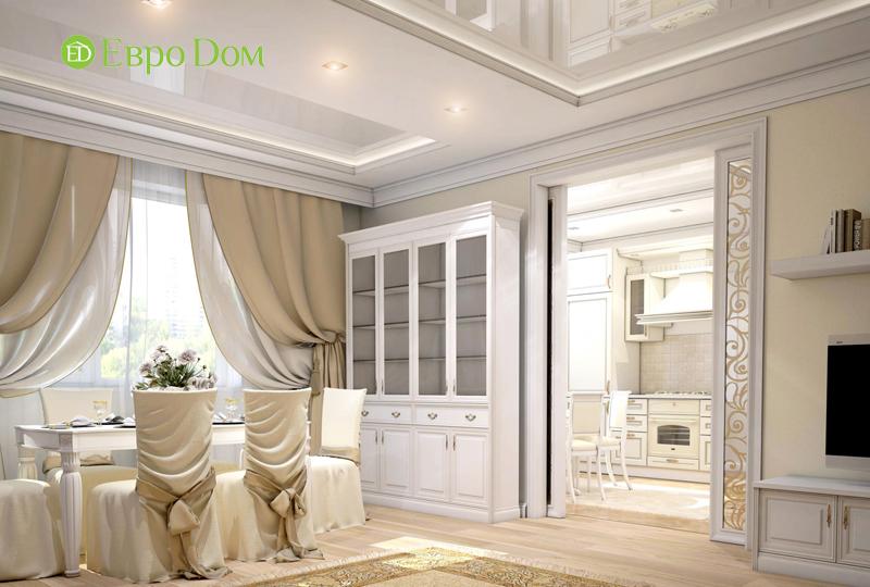 Дизайн интерьера 3-комнатной квартиры 100 кв. м в классическом стиле. Фото 02