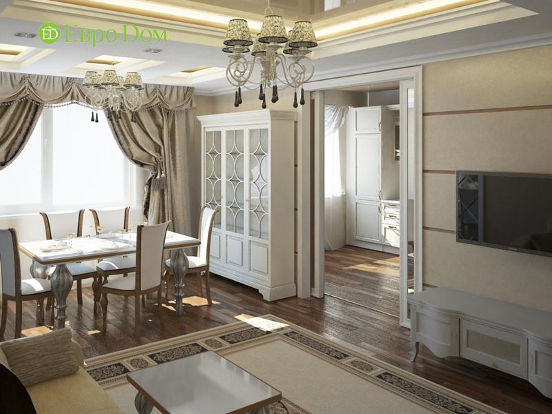 Дизайн интерьера 3-комнатной квартиры 100 кв. м в классическом стиле. Фото 015