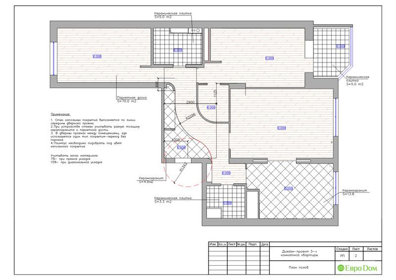 Дизайн интерьера 3-комнатной квартиры 100 кв. м в классическом стиле. Фото 021