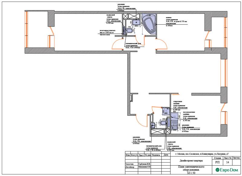 Дизайн 3-комнатной квартиры 83 кв. м в классическом стиле. Фото 035