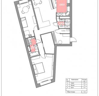 Дизайн трехкомнатной квартиры 107 кв. м в стиле фьюжн. Фото проекта