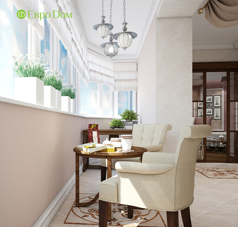 Двухкомнатная квартира 87 кв. м. Дизайн интерьера в стиле легкая классика. Фото 06