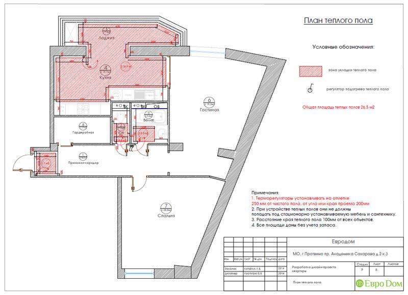 Двухкомнатная квартира 87 кв. м. Дизайн интерьера в стиле легкая классика. Фото 022