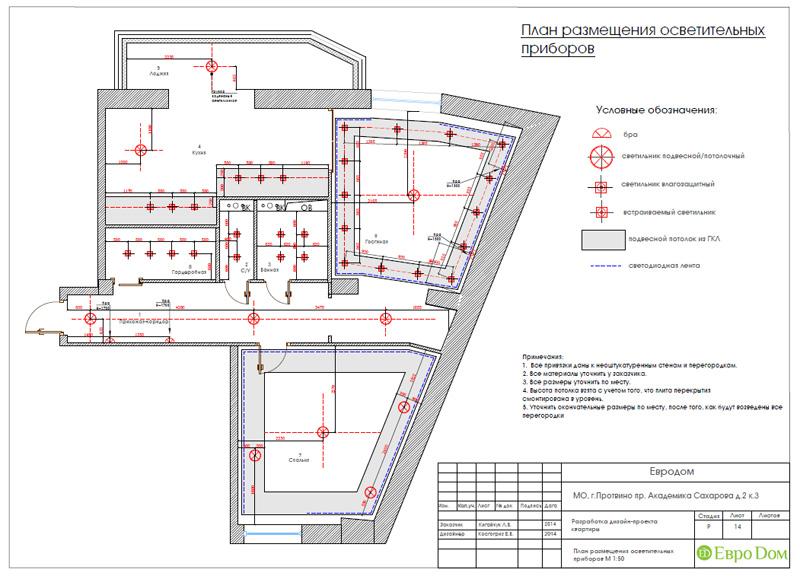 Двухкомнатная квартира 87 кв. м. Дизайн интерьера в стиле легкая классика. Фото 028