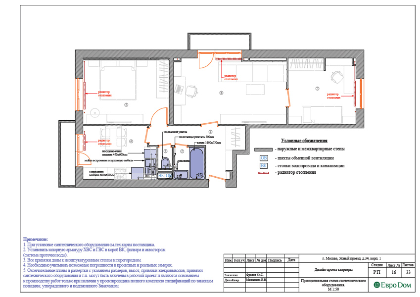 Дизайн трехкомнатной квартиры 64 кв. м в современном стиле. Фото 034