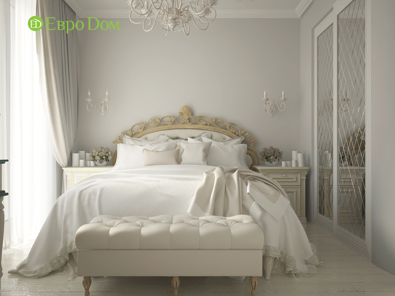 На фото: спальная комната в стиле неоклассика