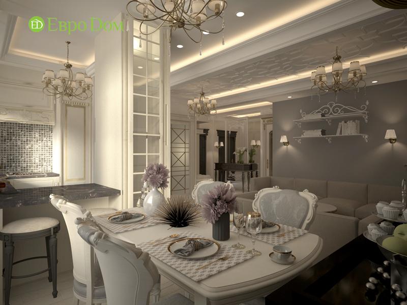 На фото: кухонное помещение и столовая в стиле неоклассика
