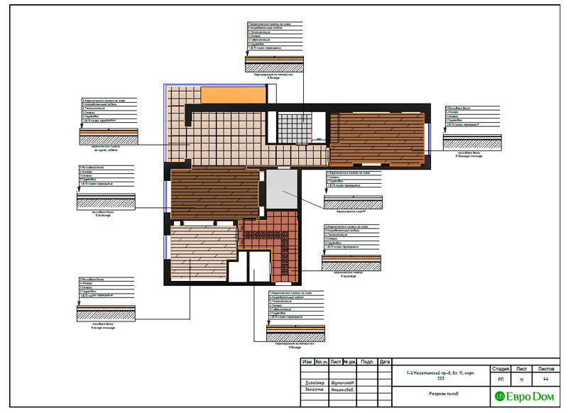 Дизайн-проекты. Стиль: Современный. Рабочие чертежи. Фото 11