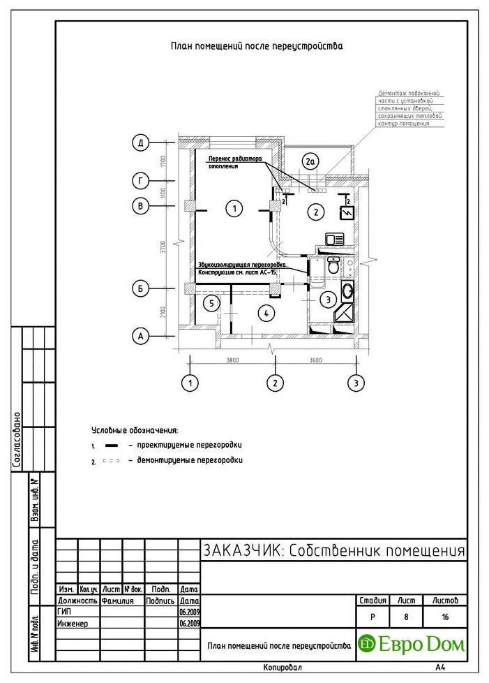 Перепланировка 1-комнатной квартиры в Москве. Изображение 02