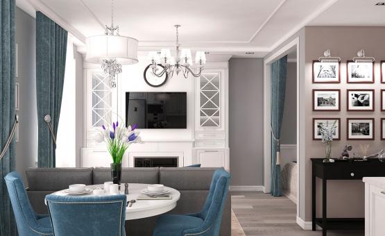 Дизайн интерьера 1-комнатной квартиры 44 кв.м. по адресу г. Звенигород, ул. Садовая, д. 6, ЖК «Заречье». Фото 2
