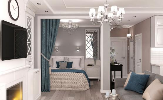 Дизайн интерьера 1-комнатной квартиры 44 кв.м. по адресу г. Звенигород, ул. Садовая, д. 6, ЖК «Заречье». Фото 4