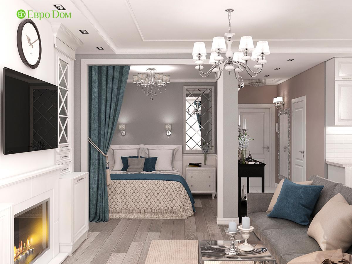 Дизайн интерьера однокомнатной квартиры 40 кв. м в стиле неоклассика. Фото 05