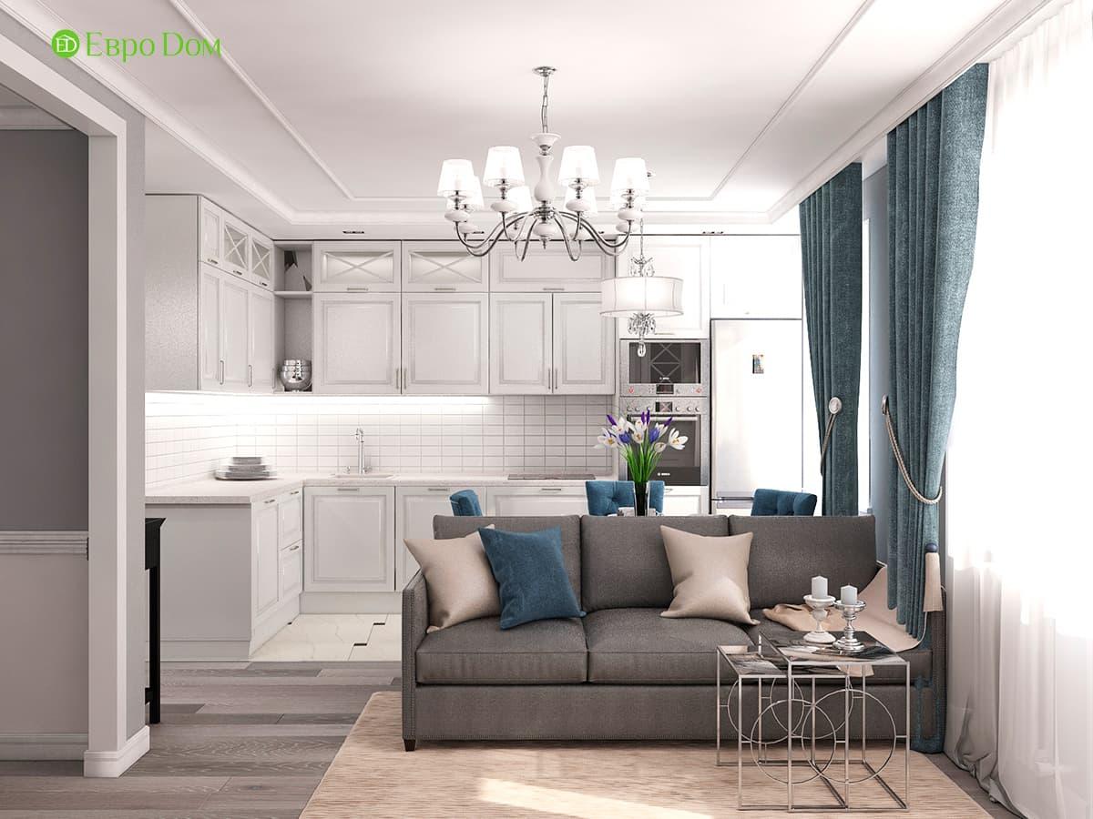 Дизайн интерьера однокомнатной квартиры 40 кв. м в стиле неоклассика. Фото 06