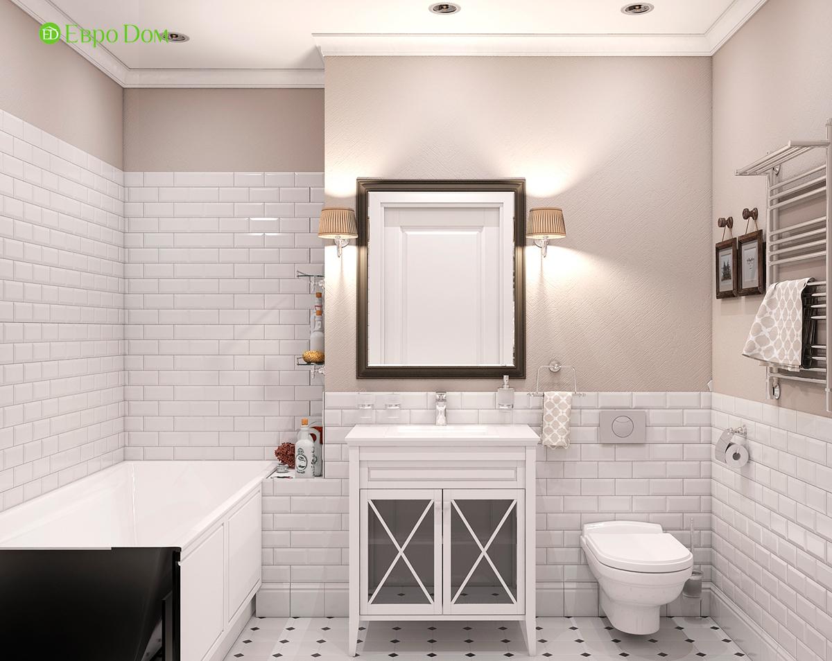 Дизайн интерьера однокомнатной квартиры 40 кв. м в стиле неоклассика. Фото 012