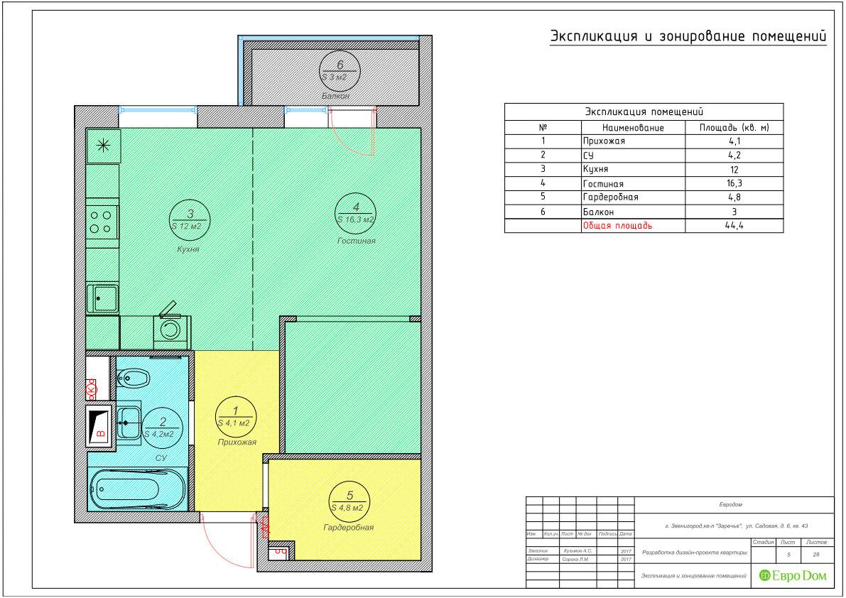 Дизайн интерьера однокомнатной квартиры 40 кв. м в стиле неоклассика. Фото 021