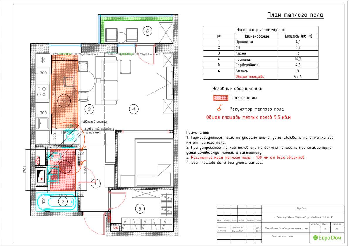 Дизайн интерьера однокомнатной квартиры 40 кв. м в стиле неоклассика. Фото 024