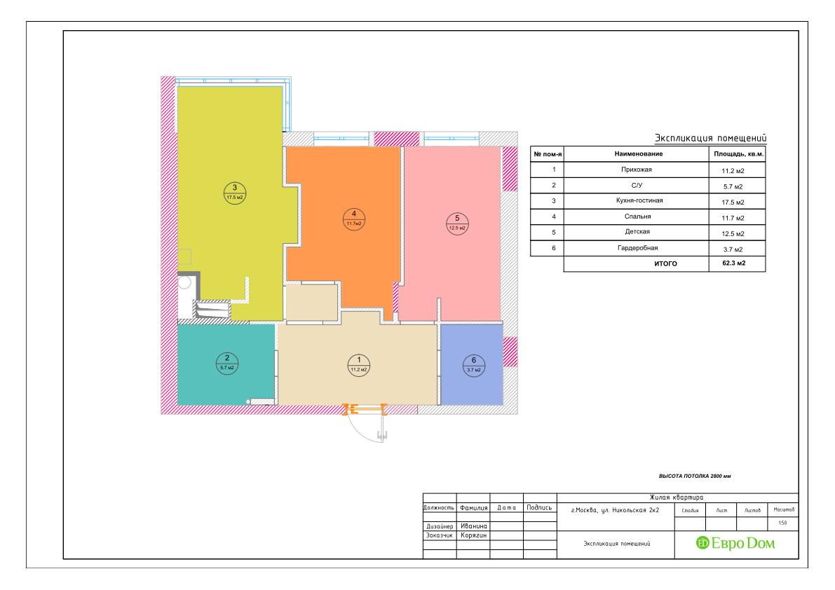 Дизайн 3-комнатной квартиры в стиле ар-деко. Фото интерьера 020