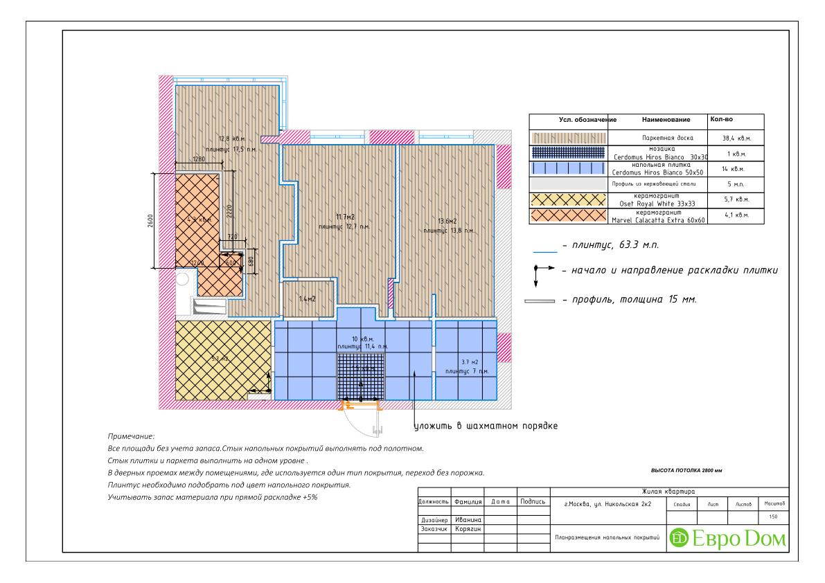 Дизайн 3-комнатной квартиры в стиле ар-деко. Фото интерьера 028