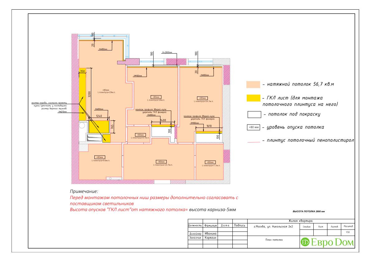 Дизайн 3-комнатной квартиры в стиле ар-деко. Фото интерьера 032