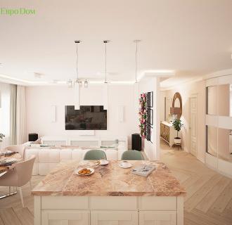 Дизайн трехкомнатной квартиры 100 кв. м в современном стиле. Фото проекта
