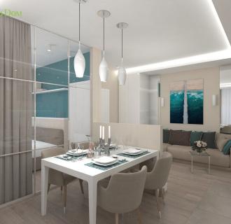 Дизайн трехкомнатной квартиры 61 кв. м в современном стиле. Фото проекта