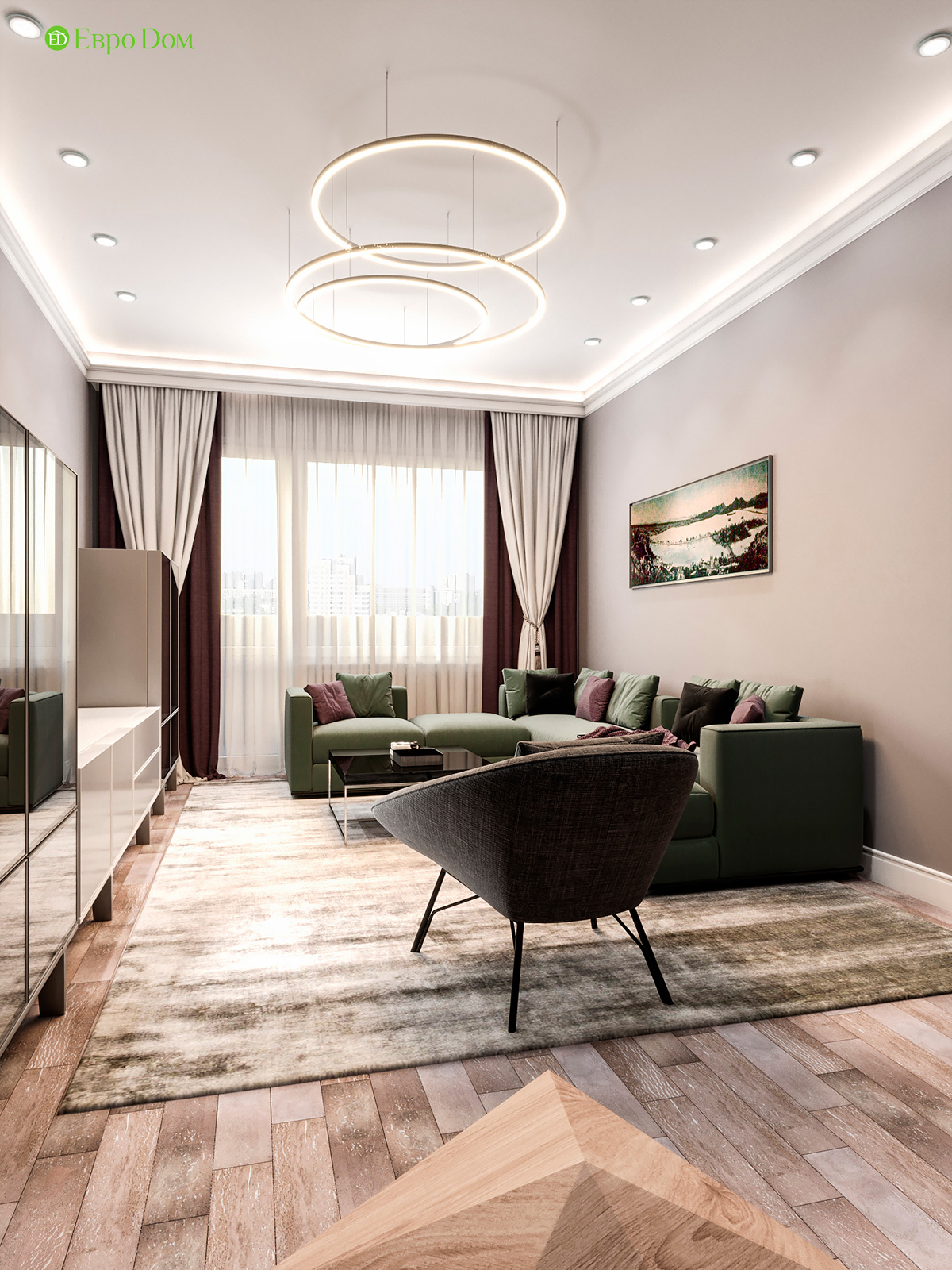 Дизайн двухкомнатной квартиры 60 кв. м в современном стиле. Фото 012