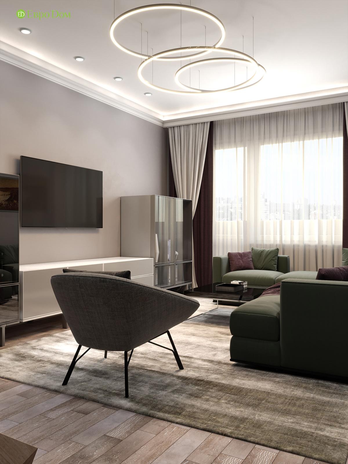 Дизайн двухкомнатной квартиры 60 кв. м в современном стиле. Фото 013