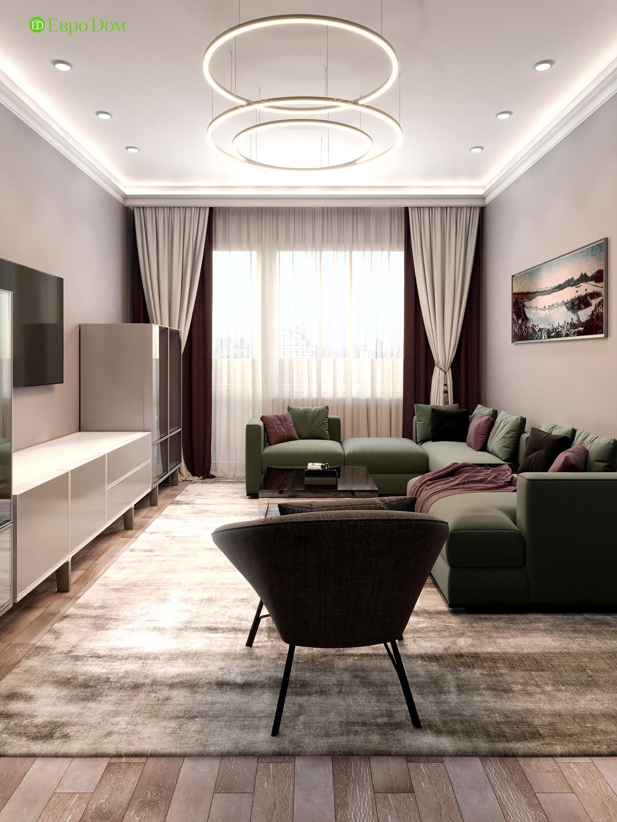 Дизайн двухкомнатной квартиры 60 кв. м в современном стиле. Фото 015
