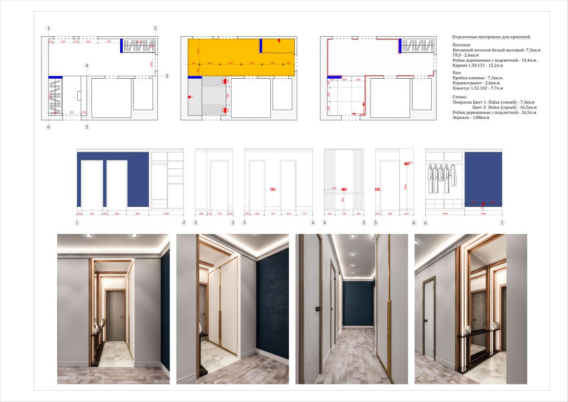 Дизайн двухкомнатной квартиры 60 кв. м в современном стиле. Фото 038