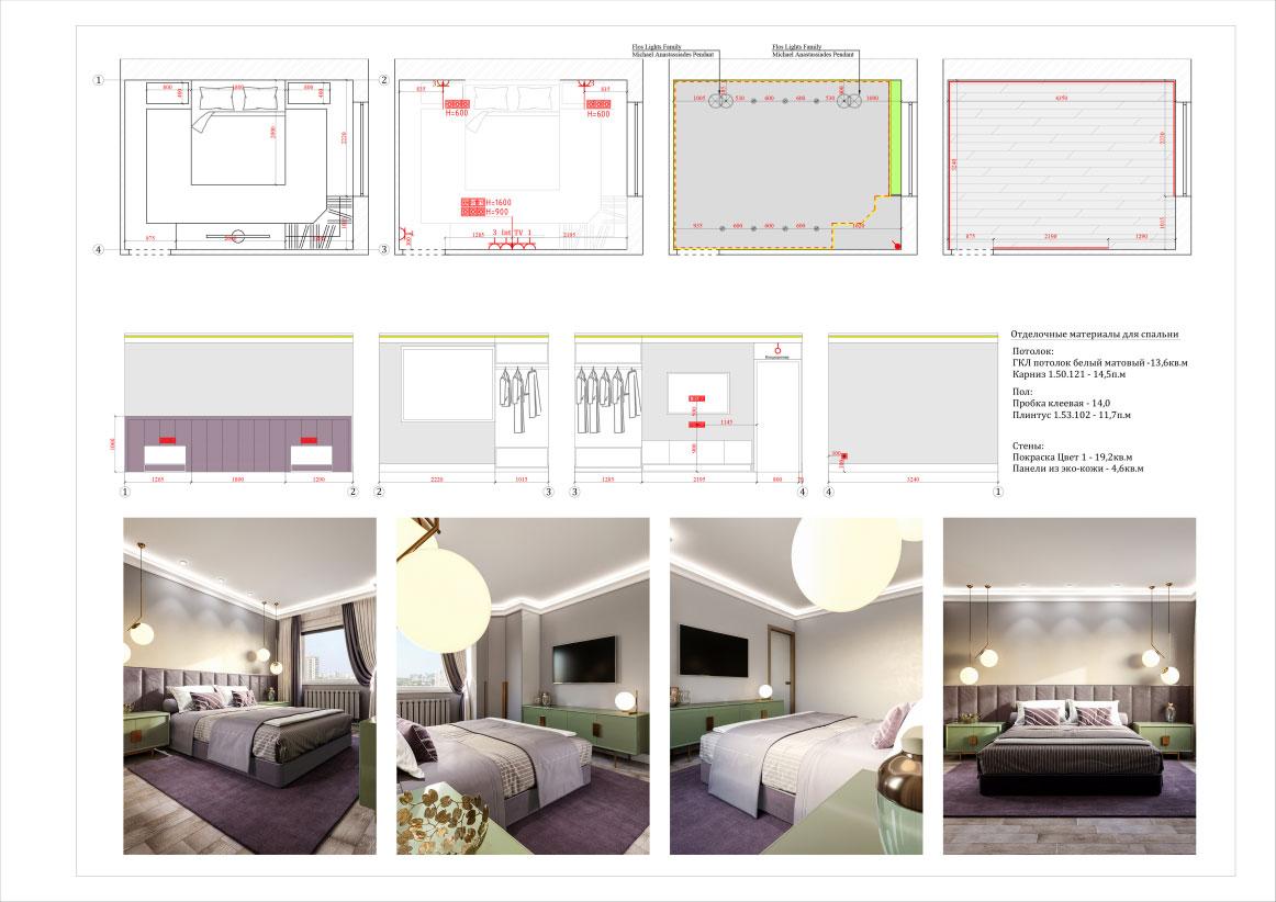 Дизайн двухкомнатной квартиры 60 кв. м в современном стиле. Фото 042