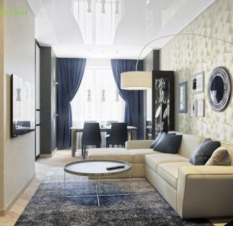 Дизайн трехкомнатной квартиры 95 кв. м в современном стиле. Фото проекта