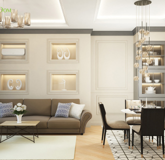 Дизайн трехкомнатной квартиры 82 кв. м в стиле неоклассика. Фото проекта
