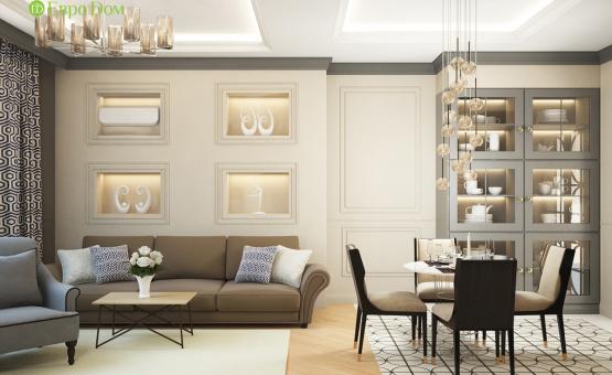 Дизайн интерьера трехкомнатной квартиры 82 кв.м. по адресу г. Москва, пр. Вернадского, д. 105, корп. 4, ЖК «Елена». Фото 1