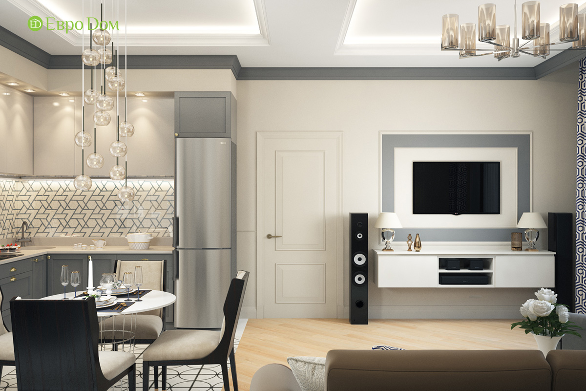 Дизайн трехкомнатной квартиры 82 кв. м в стиле неоклассика. Фото 03