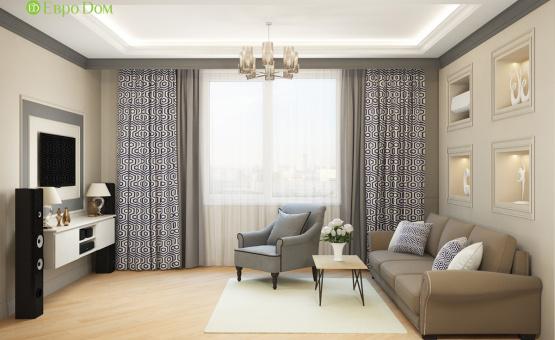 Дизайн интерьера трехкомнатной квартиры 82 кв.м. по адресу г. Москва, пр. Вернадского, д. 105, корп. 4, ЖК «Елена». Фото 3