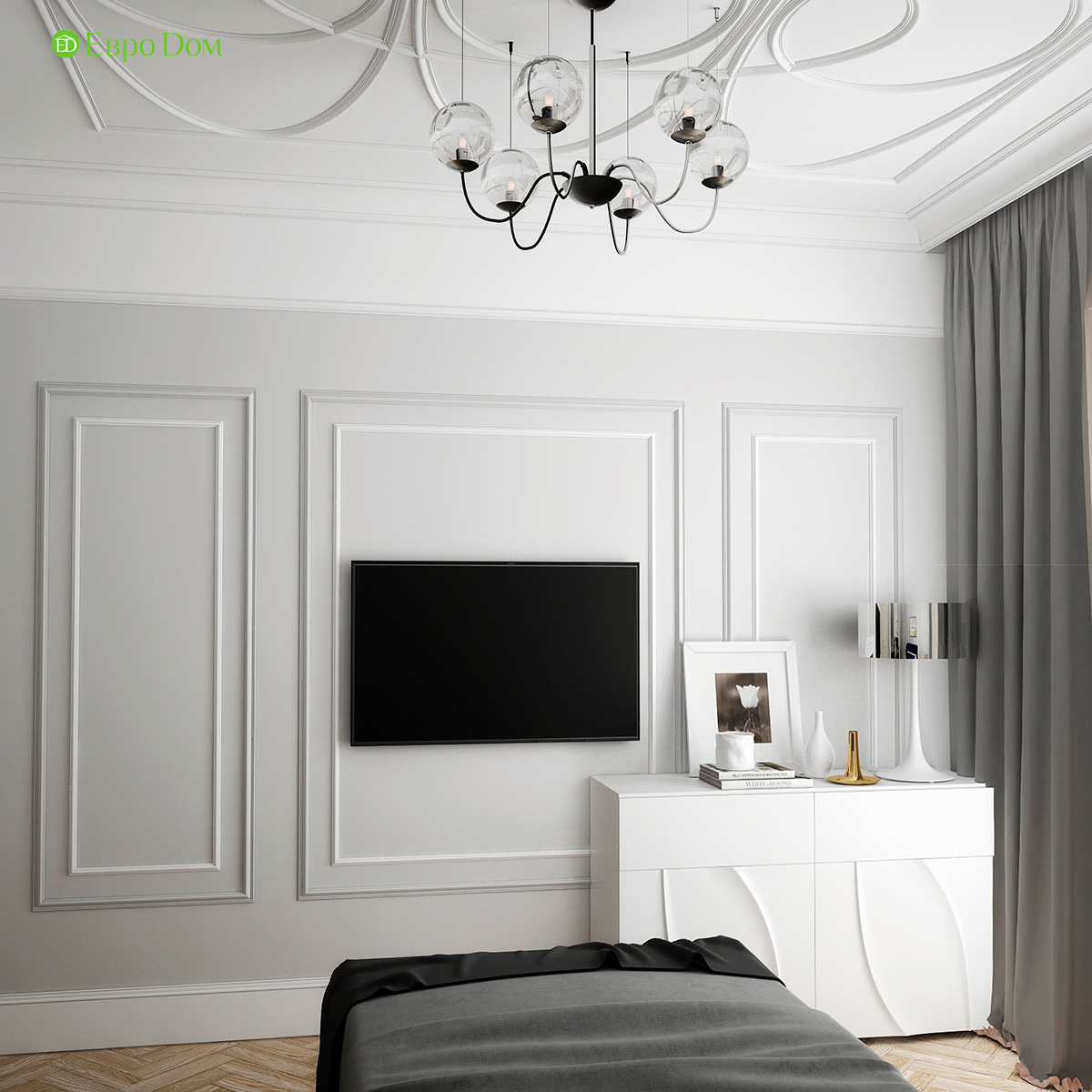 Дизайн трехкомнатной квартиры 82 кв. м в стиле неоклассика. Фото 011