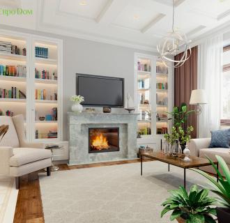 Дизайн интерьера коттеджа 413 кв. м в английском стиле. Фото проекта