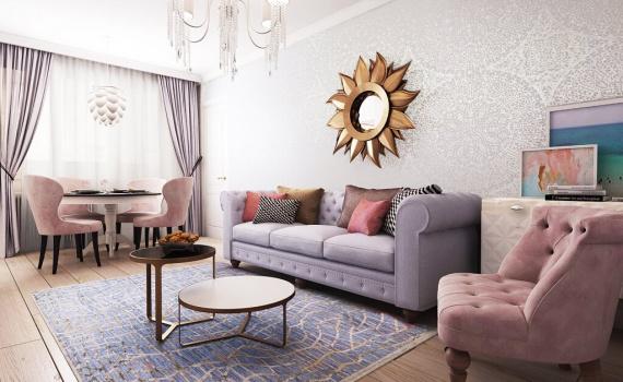 На фото: дизайн двухкомнатной квартиры в стиле ар-деко