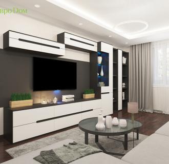 Дизайн интерьера двухкомнатной квартиры 70 кв. м в современном стиле. Фото проекта
