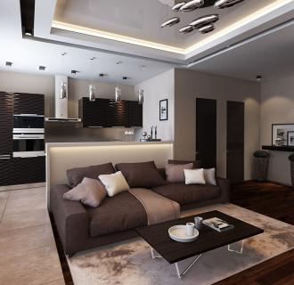 Дизайн интерьера трехкомнатной квартиры 86 кв. м в современном стиле. Фото проекта
