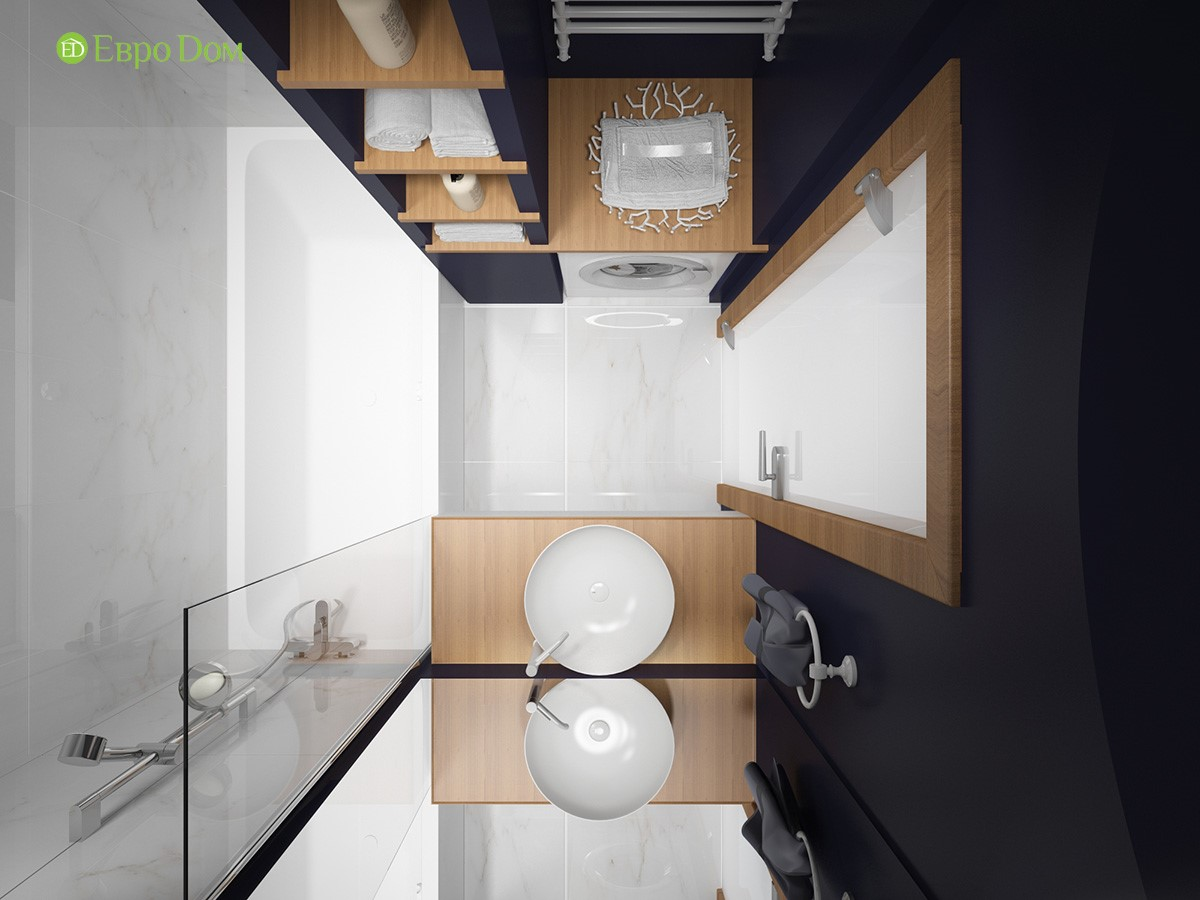 Дизайн-проект маленькой ванной комнаты двухкомнатной квартиры панельного дома