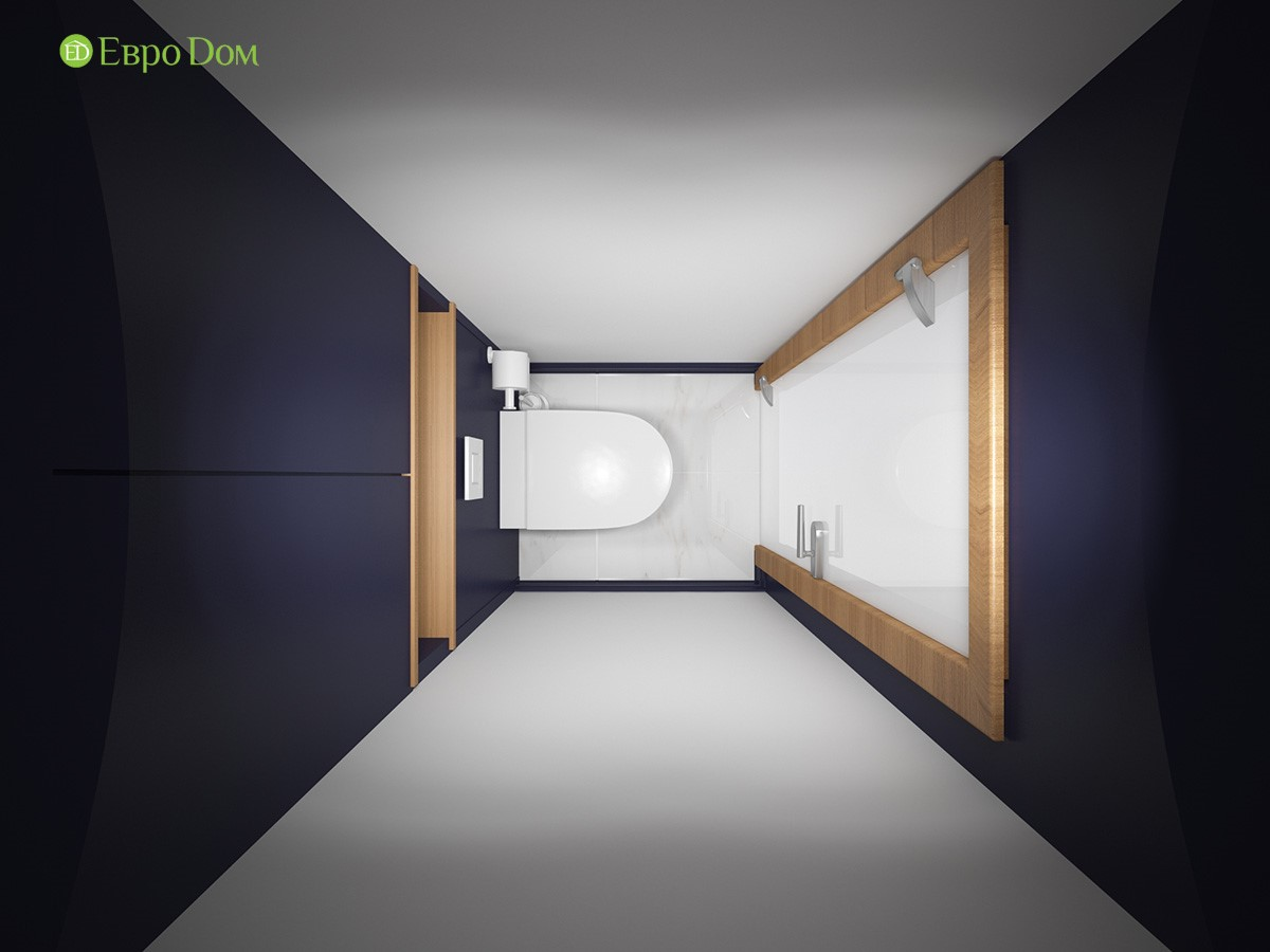 Дизайн-проект маленькой туалетной комнаты двухкомнатной квартиры панельного дома. Вид сверху.